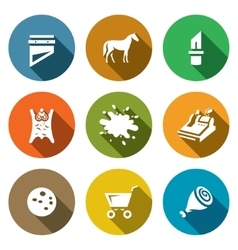 Set of meat processing plant icons vector