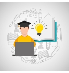 Eduation online concept student knowledge school vector