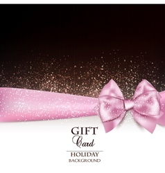 Gorgeous holiday background with pink bow and copy vector