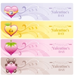 Happy valentines day hearts banner set apple vector