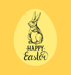 Happy easter hand lettering greeting card vector
