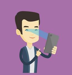 Man using iris scanner to unlock mobile phone vector