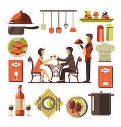 Dating man and woman in restaurant and kitchen set vector