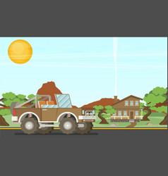 Pickup offroad truck at nfture landscape vector