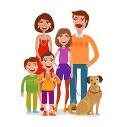 Family portrait happy people children parents vector