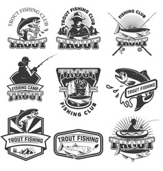 Set of trout fishing emblems isolated on white vector