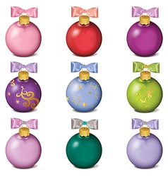 Set of colorful christmas balls isolated on white vector
