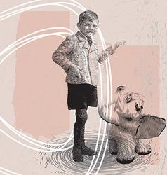 a boy with an elephant vector image