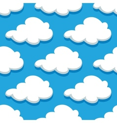 Seamless cartoon cloudscape pattern on cyan vector