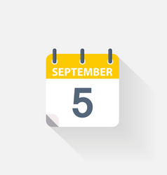 5 september calendar icon vector