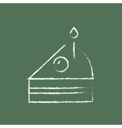 Slice of cake with candle icon drawn in chalk vector