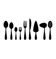Set of flat icons cutlery vector