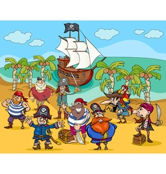 Pirates on treasure island cartoon vector