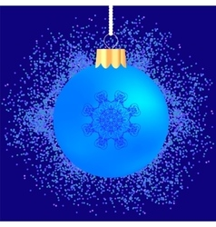 Glass ball on blue confetti background vector