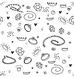 Simple seamless pattern with jewelry black and vector