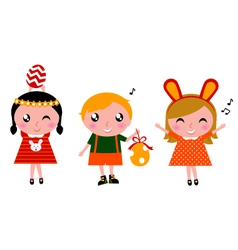 Retro easter kids vector