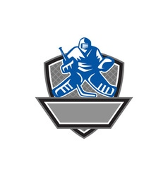 Ice hockey goalie crest retro vector