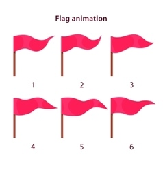 Red triangle shape flag waving animation sprites vector