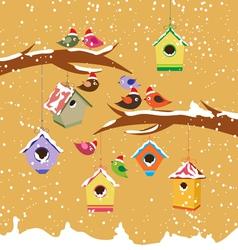 Birdhouse for christmas winter vector