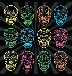 bright mexican skulls collection vector image vector image