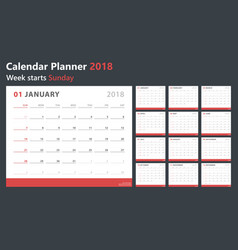 Calendar planner 2018 week starts sunday vector