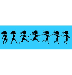 Cartoon silhouette of a running woman vector