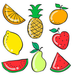 colorful fruit various doodle style vector image vector image