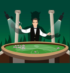 Croupier behind roulette table vector