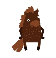 Cute cartoon horse farm animal mammal character vector image