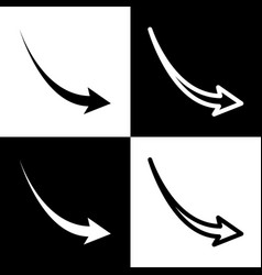 Declining arrow sign black and white vector