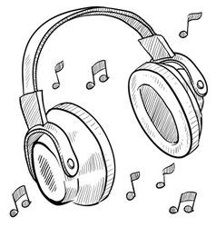 doodle headphones vector image vector image