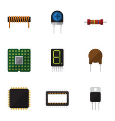 Flat icon electronics set of mainframe resistance vector