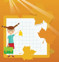 Frame schoolgirl with briefcase and bell vector image vector image