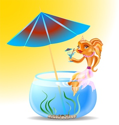 goldfish on holiday vector image vector image