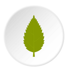 Green hornbeam leaf icon circle vector