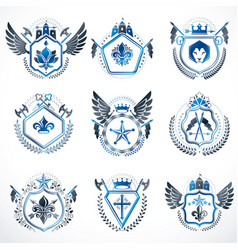 heraldic decorative emblems made with royal vector image vector image