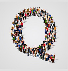 large group of people in letter q form vector image vector image