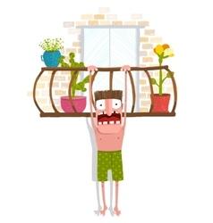 Man in underpants hanging over balcony vector