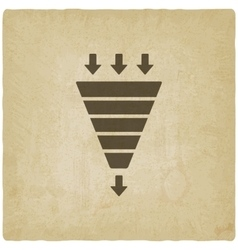 Marketing funnel symbol old background vector