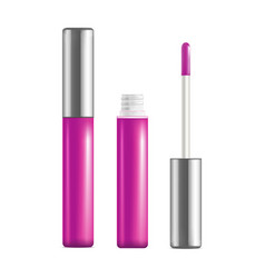 Realistic detailed pink lip gloss set open and vector