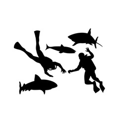Scuba divers and sharks silhouette vector