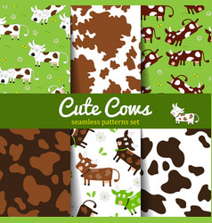 Set of seamless patterns with cow and skin vector
