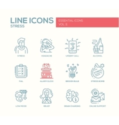 Stress at work - line design icons set vector image vector image