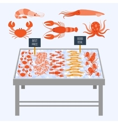 Supermarket shelves with fresh seafood vector