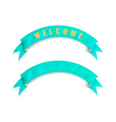 the turquoise ribbon with welcome word vector image vector image