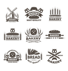 vintage bakery labels set logo template in vector image vector image