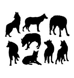 Wolf wild animal silhouettes vector