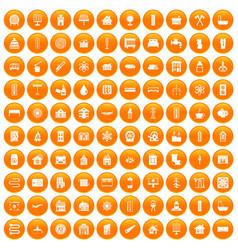 100 heating icons set orange vector