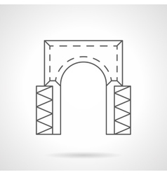 Rectangular arch flat line icon vector