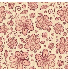 Ornate doodle flowers background vector image